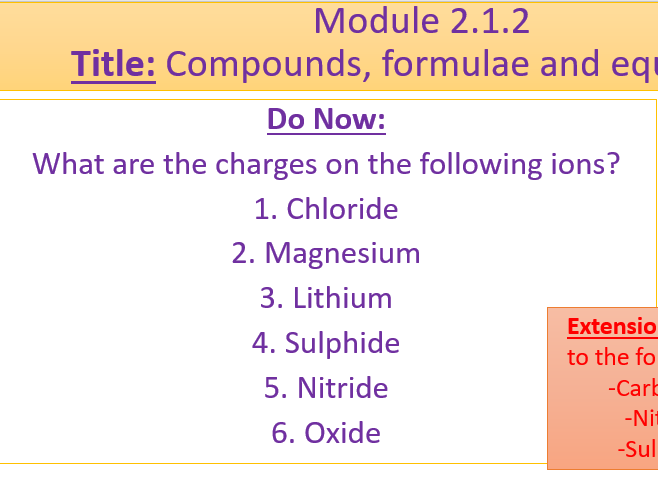 A Level Chemistry OCR A Module 2.1.1 and 2.1.2