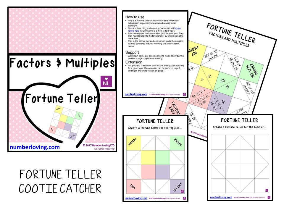 Factors and Multiples (Cootie Catcher)