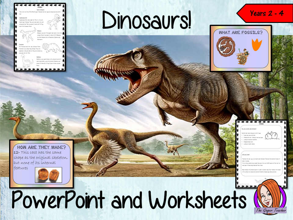 Dinosaurs   -  PowerPoint and Worksheets  STEAM Lesson