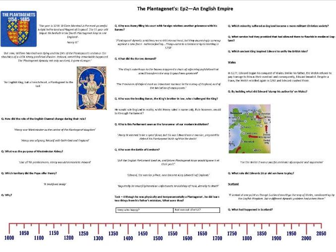 The Plantagenet's Ep2 An English Empire- Worksheet to support the BBC Documentary