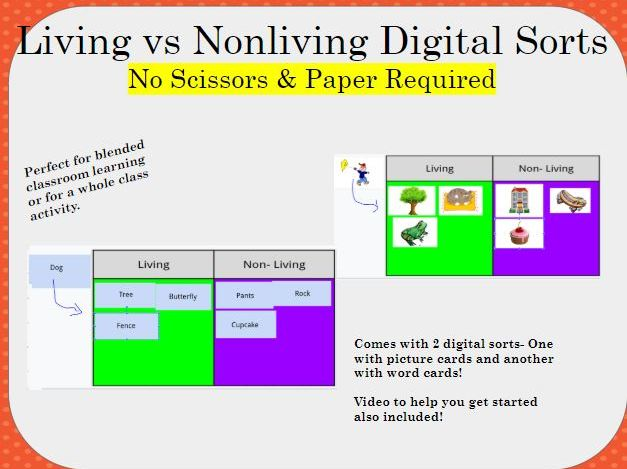 Living vs Nonliving Digital Word and Picture Sort