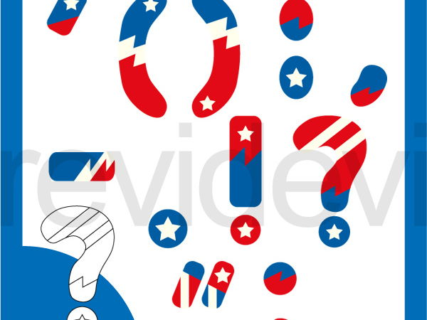Basic punctuation superhero red blue clipart - commercial use