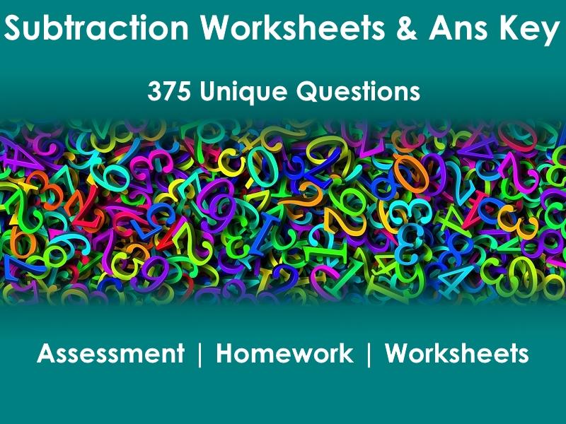 15pg Subtraction Worksheets & Ans Keys - 375 problems
