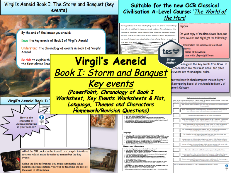 Virgil's Aeneid Book I: Storm and Banquet (key events) [New OCR A-Level: 'The World of the Hero']
