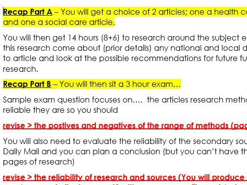 BTEC Health and Social Care Unit 4 Enquiries into Current Research Recap and revision advice