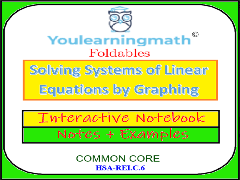 Solving Systems of Linear Equations by Graphing -Foldables- Interactive Notebook