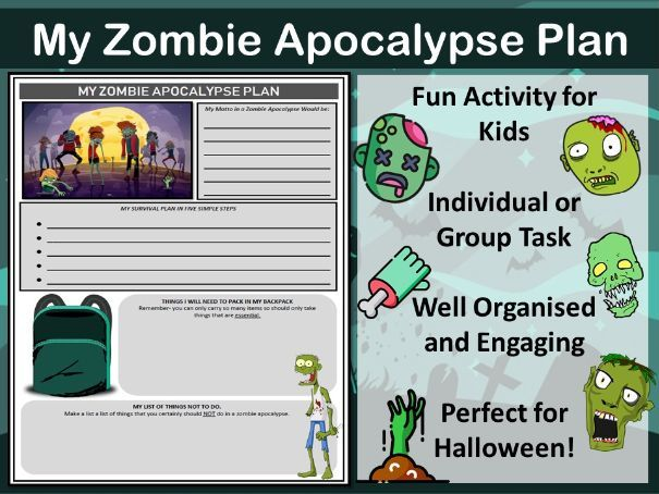 Halloween Fun Worksheet - Zombie Apocalypse