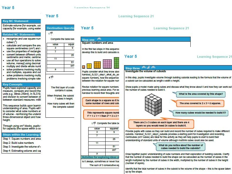 Year 5 maths plan Volume and Capacity ESSENTIAL maths