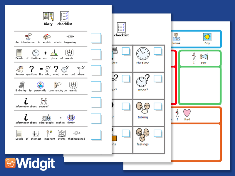 diary activities with widgit symbols by widgit software