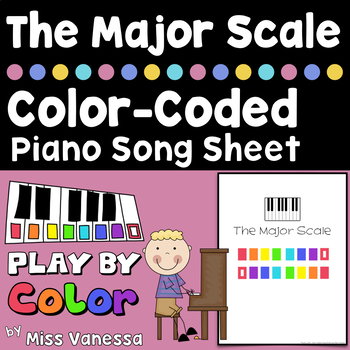 The Major Scale, Color-Coded Piano Song Sheets For Beginners ~ Play by Color