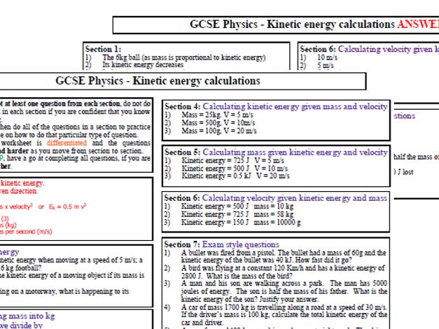 Kinetic energy calculations