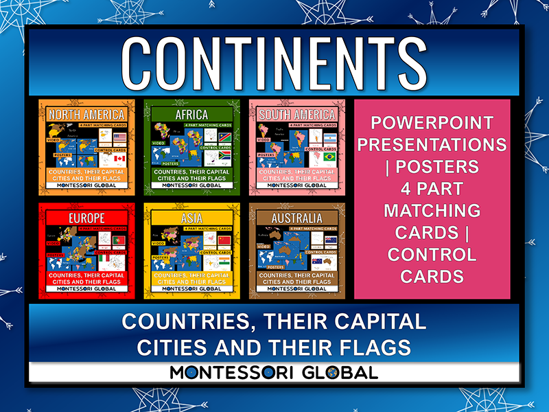 Montessori Printable Continents   Countries Flags Capital Cities   Powerpoint