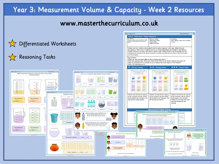 Year 3 - Measurement: Volume and Capacity Week 2 Resources- White Rose Aligned