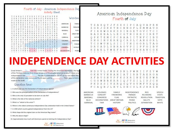 Fourth of July - US Independence activity + separate wordsearch