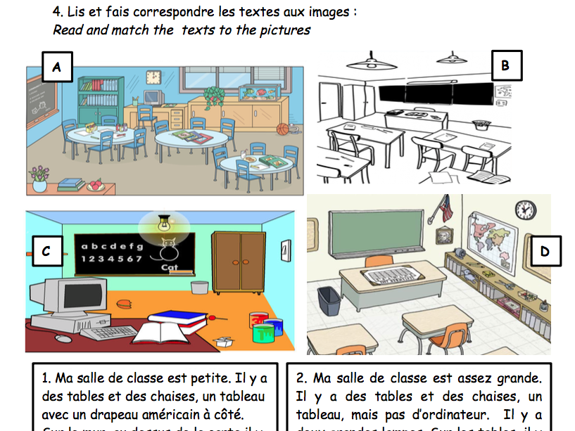 Dans la classe - mes affaires - school items (classroom and pencil case items)