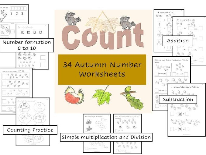Autumn Maths Worksheets for Reception/Yr. 1/Special Needs