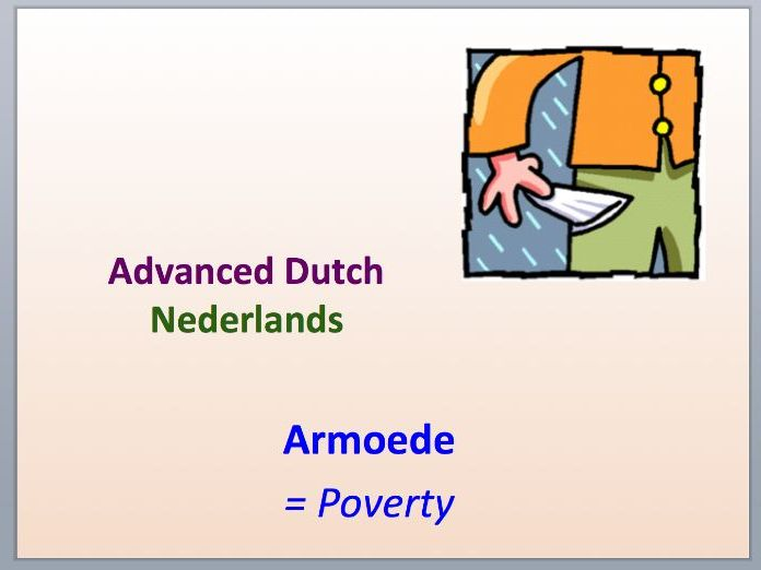 Intermediate Dutch - Poverty - Suitable for B2 learners.