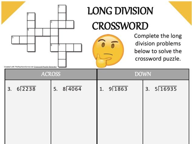 Long Division and Multiplication Crossword Puzzle