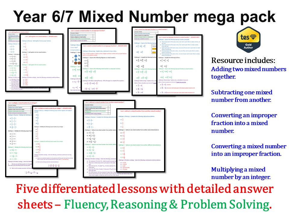 Year 6/7 Mixed Number mega pack (Mastery Approach) - ANSWERS included
