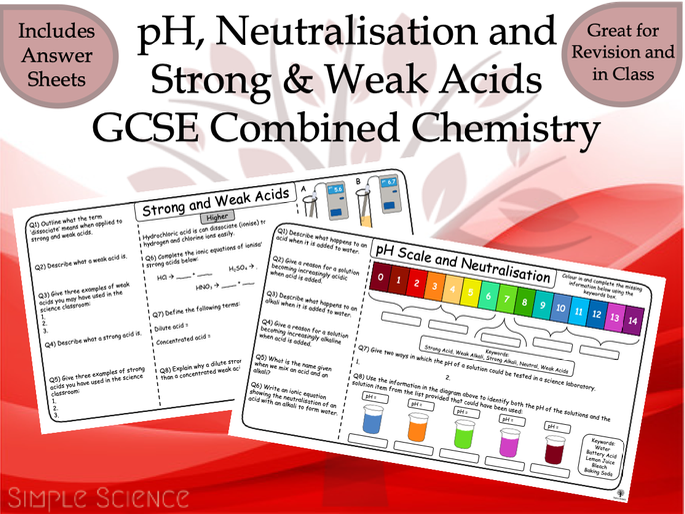 GCSE Chemistry - pH, Neutralisation and Strong & Weak Acids Worksheets
