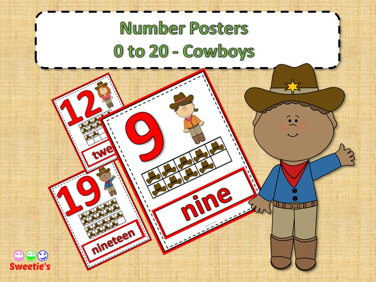 Number Posters 0 to 20 with Ten Frames - Cowboys