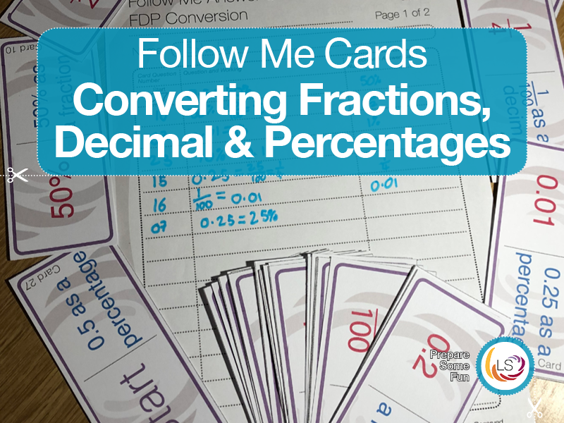 Fractions Decimals and Percentages | Follow Me Cards