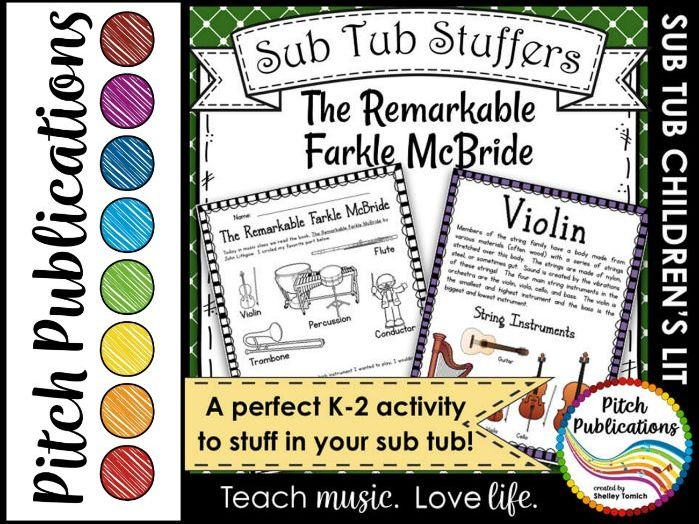 Music Sub Tub Stuffers: K-2 Substitute Plan - The Remarkable Farkle McBride