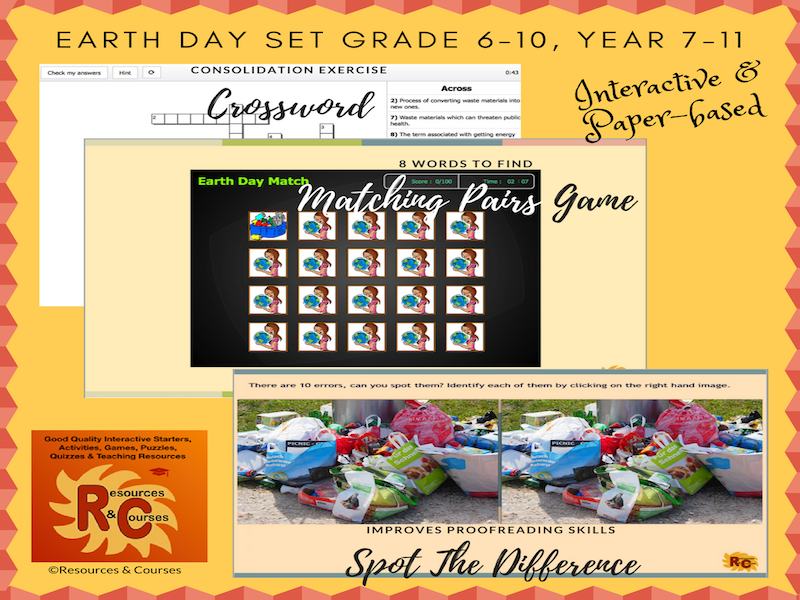 Earth Day Games & Puzzles Set (interactive)  Grade 6-10, Year 7 - 11 (3 products)