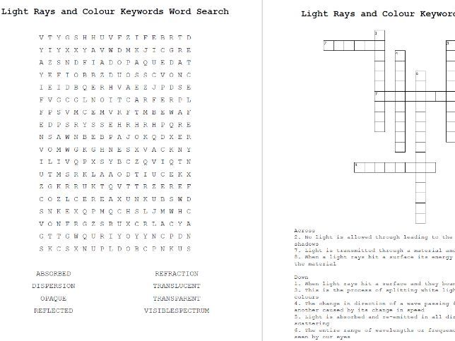 Light Rays and Colour Word Search & Crossword