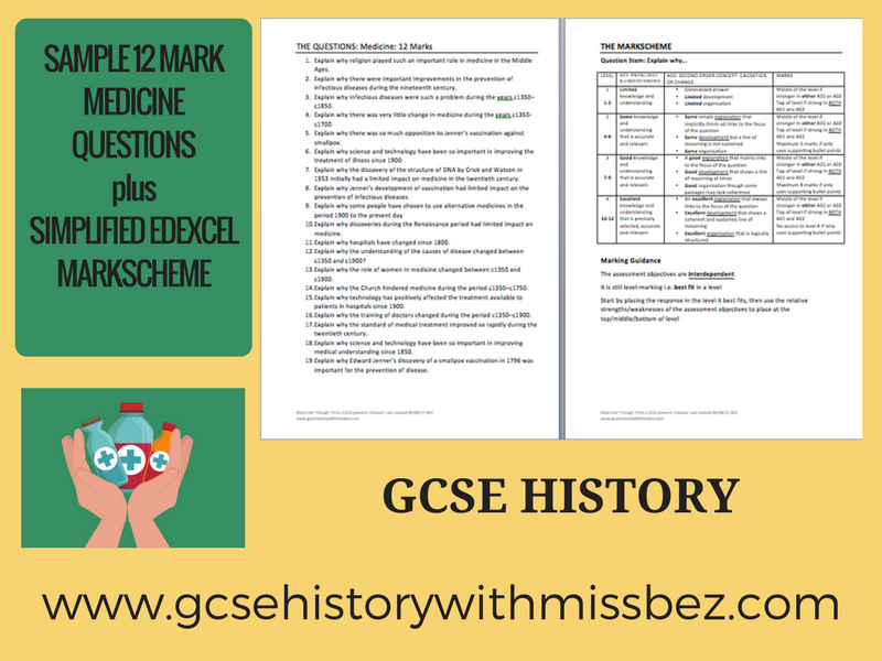 GCSE HISTORY: Medicine sample practice 12 mark questions and mark scheme (REVISION & PLANNING)
