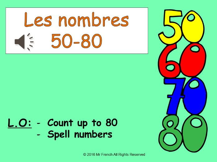 Les nombres 50-80 (French numbers 50-80) 3 lessons! Y4  3rd Grade