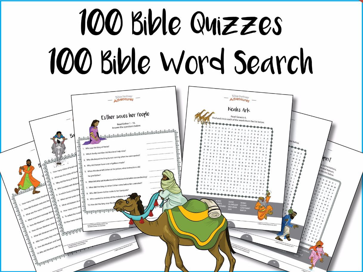 100 Bible Quizzes & 100 Word Search  Activity Books