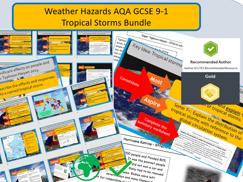 The Challenge of Natural Hazards Hurricanes  New  AQA GCSE 9-1. Bundle.