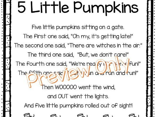 photo about Five Little Pumpkins Poem Printable identify Sarah Griffins Retailer - Education Products - TES