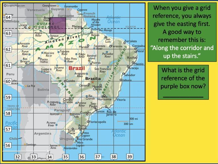 Using 4 and 6-figure grid references to locate Brazilian cities - KS2
