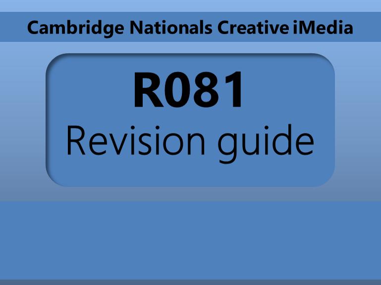 Creative iMedia R081 Revision guide
