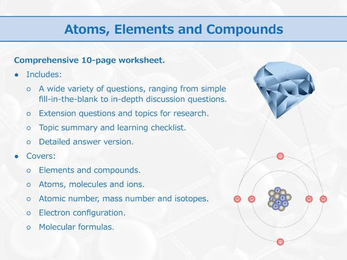 Atoms Elements And Compounds Worksheet By Goodscienceworksheets