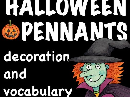 HALLOWEEN - pennants / banners for teaching ESL / EFL  vocabulary / primary school English