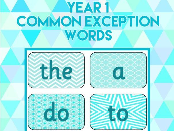 Year 1 Common Exception Words Display