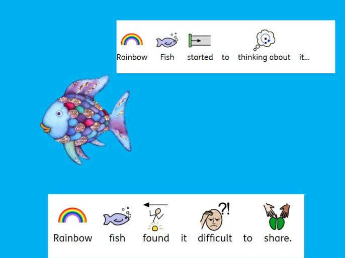 Rainbow Fish with widgit symbols and 4 activities Special Education ASD