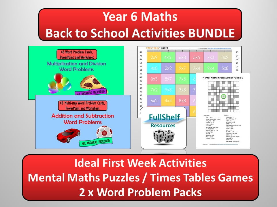 Back to School Maths Activities BUNDLE (Year 6 / P7)