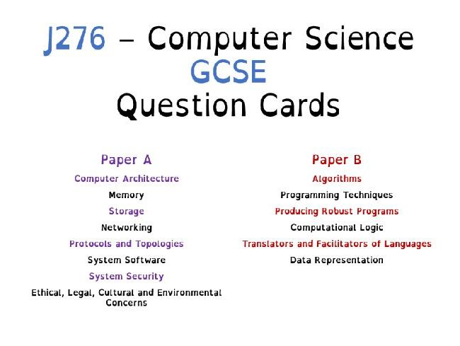 J276 - Computer Science GCSE - Revision Question Cards