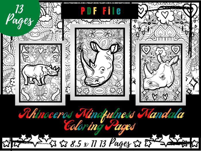 Rhinoceros Mindfulness Mandala Coloring Pages, Animals Coloring Printable Sheets