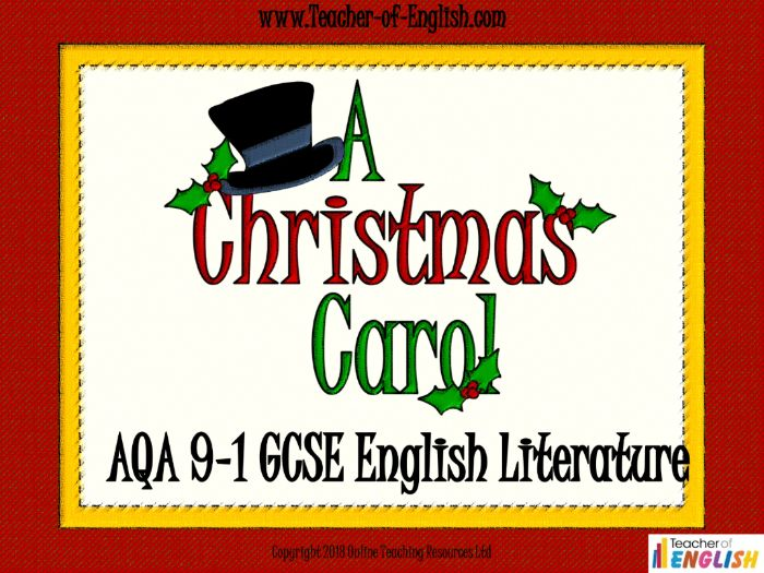 A Christmas Carol for AQA 9-1 GCSE (PowerPoint, worksheets and lesson plans)
