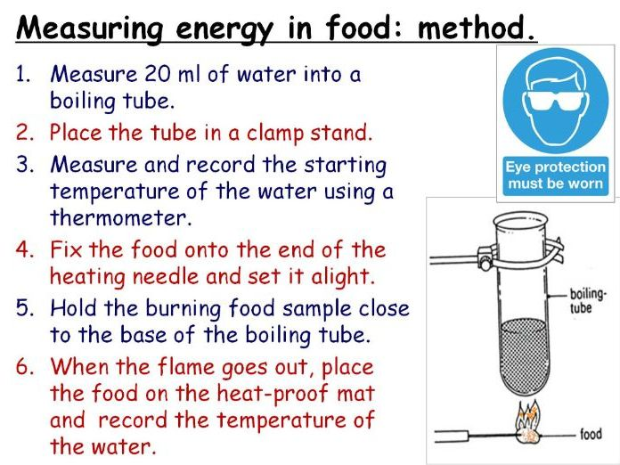Energy in Food (Burning Food) Year 7 Double Lesson PowerPoint (KS3 7Ia) Energy topic