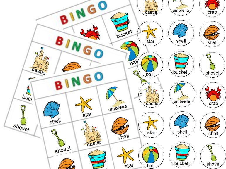 Beach Bingo print and play