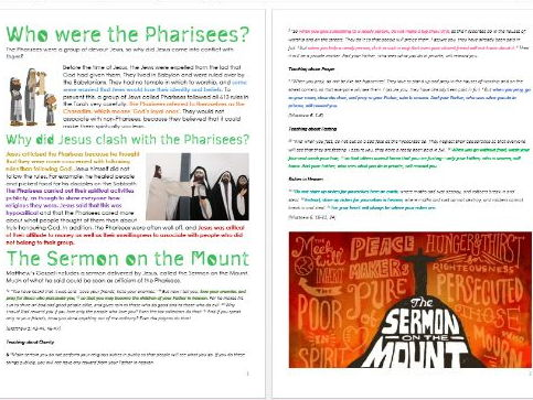 The Pharisees: Differentiated Information and Activity Sheets