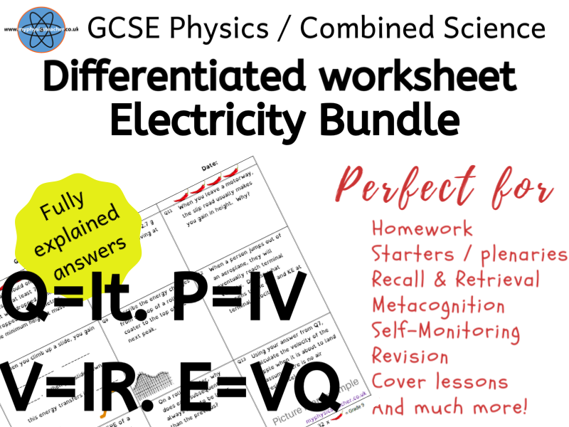 Homeschool Lockdown Electricity Bundle - Energy, Charge, Current, Resistance, Potential Difference, Power - GCSE Physics / Combined Science Differentiated Equation Worksheets