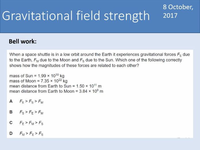 A-level Physics Unit 7.2 Gravitational fields - 7.2.2 Gravitational field strength (New AQA spec)