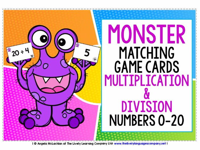 MATHS NUMBERS 0-20 MULTIPLICATION & DIVISION - GAME CARDS & ANSWER KEYS